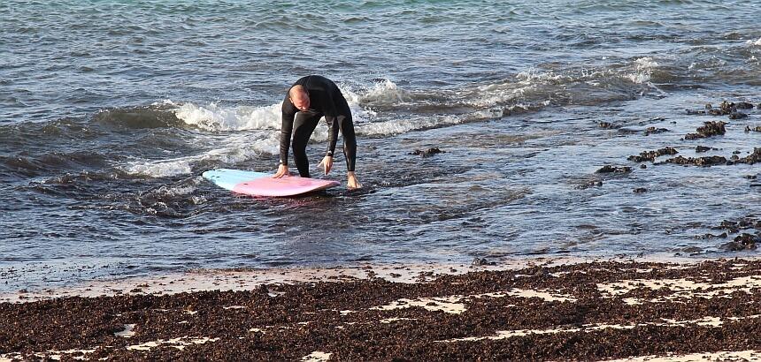 Ohn Surf Booties kann der Ein- und Ausstieg zum Problem werden