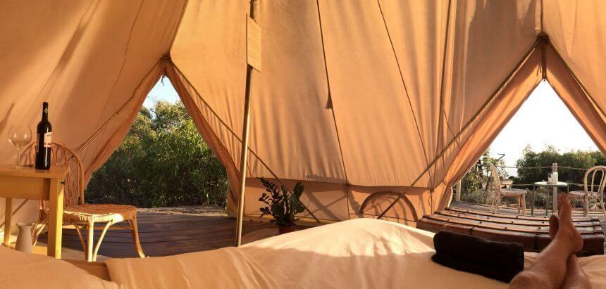 Mein Galmping Zelt mit Meerblick im Dreamsea Surf Camp Portugal