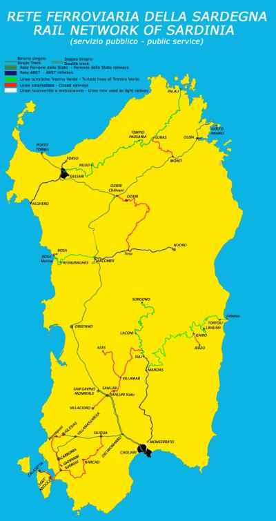 Öffentliches Verkehrsnetz Sardinien