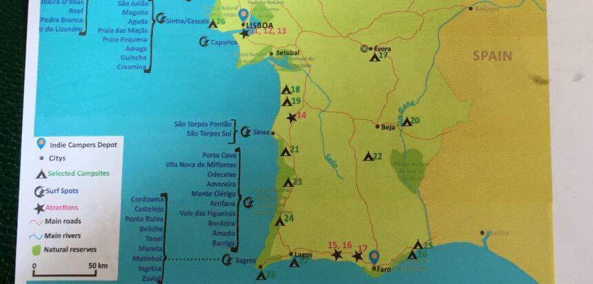 Ausschnitt der Übersichtskarte von Indie Campers Portugal