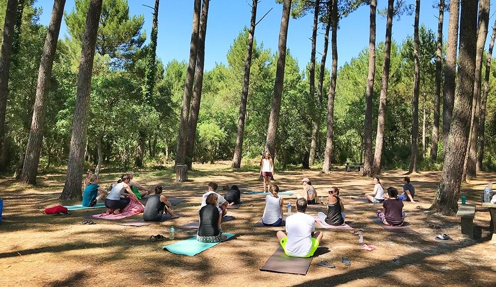 Tägliche Yogasession im Pinienwald