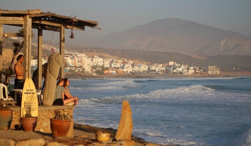 Blick vom Surfspot Anchor Point auf Taghazout in Marokko