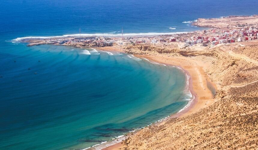 In Marokko surfen_Blick auf the magic bay in Imsouane