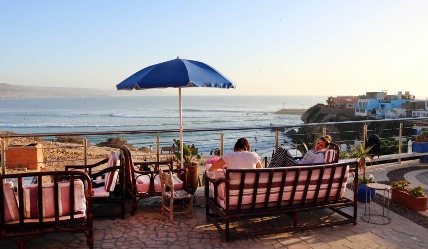 Ausblick auf den Spot von einer der Terrassen im Olo Surfcamp Imsouane