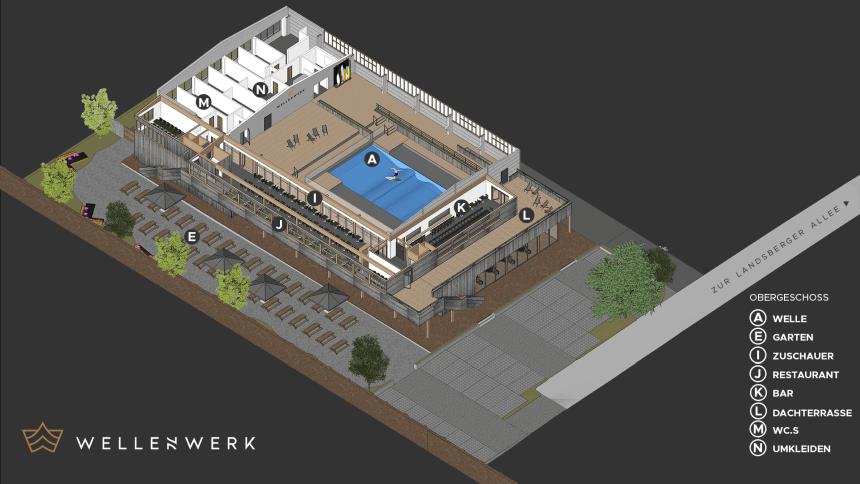 Das Wellenwerk Berlin besteht aus der berliner Welle, einem Restaurant, Surfshop, Bar und Biergarten