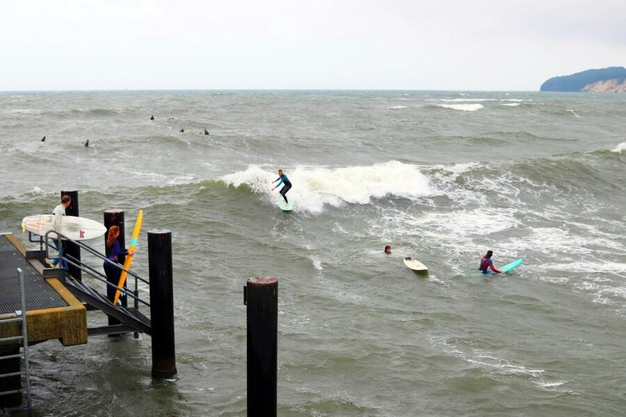 Die Wellenhöhe auf der Ostsee kann beeindrucken